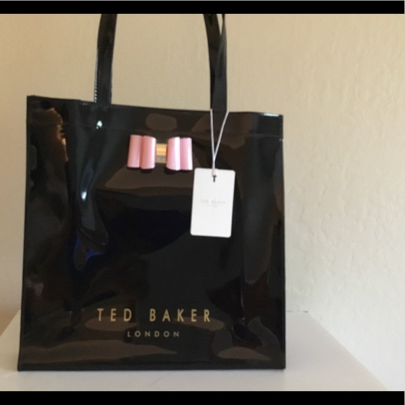 44a1ce16eca75 TED BAKER tote bag black with pink bow 🌸